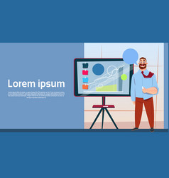 business man with flip chart seminar training vector image vector image