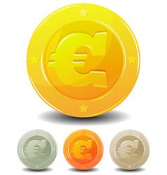 cartoon euro coins set vector image