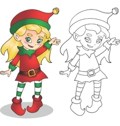 Christmas elf girl character vector image