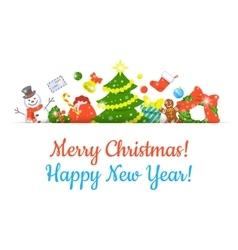 Christmas symbols background horizontal header vector