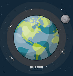 Colorful poster of the planet earth in the space vector
