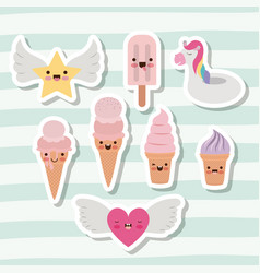 Cute set of ice creams and star and heart with vector