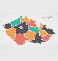 czech republic map with states and modern round vector image