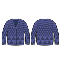 dark blue knitted cardigan vector image vector image