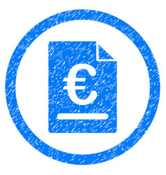 euro invoice rounded icon rubber stamp vector image