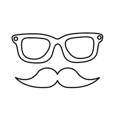 Eye glasses and mustache hipster style icon vector