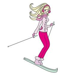 girl skiing vector image vector image