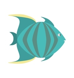 Green fish marine species icon vector