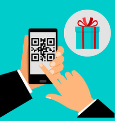 hand holding smartphone with qr code vector image vector image