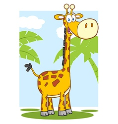 Happy Giraffe Character With Background vector image vector image