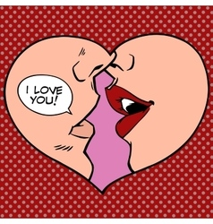 Heart kiss I love you vector image vector image