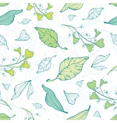 Lineart spring leaves seamless pattern vector