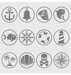 Marine symbols gray vector