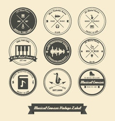 Musical Course Vintage Label vector image