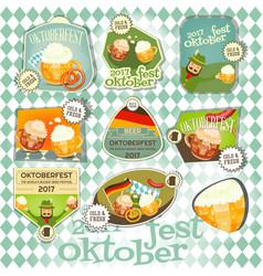 Oktoberfest beer festival labels set vector