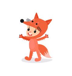 preschool kid dressed in fox costume boy or girl vector image vector image