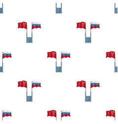 Russia and china flags icon in cartoon style vector
