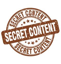 Secret content brown grunge stamp vector