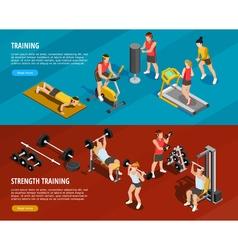 Sports training horizontal banners vector