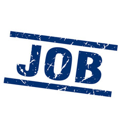 Square grunge blue job stamp vector