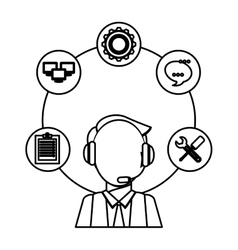 Technical service and call center icon vector