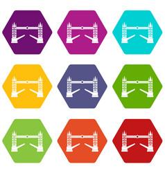 tower bridge icon set color hexahedron vector image vector image