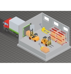Unloading of goods in a warehouse using forklift vector image vector image