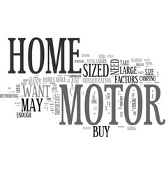 what size motor home should you buy text word vector image