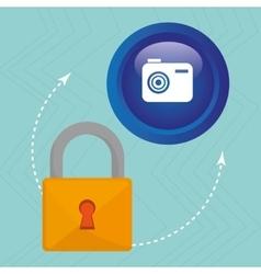 padlock camera hand icon vector image