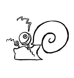 Funny cartoon contour snail crawling somewhere vector