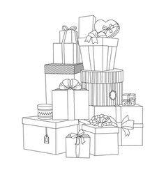 big pile of wrapped gift boxes beautiful box vector image