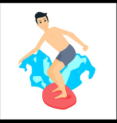 Man surfer riding on surfboard vector