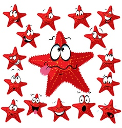Red sea star cartoon with many expressions vector