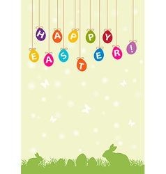 Easter hanging egg background vector
