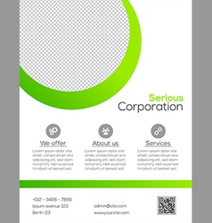 Business flyer template - green and white design vector