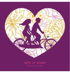 Flowers outlined couple on tandem bicycle vector
