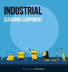 Set of industrial equipment for cleaning companies vector