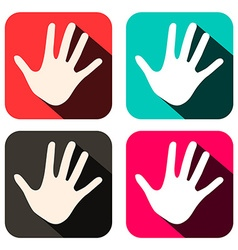 Palm hands icons in rounded squares set vector