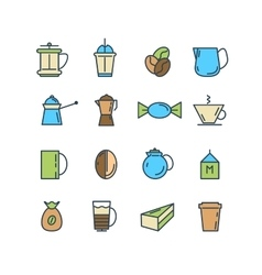 Color set of line icons coffee turk vector