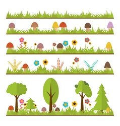 Set of flat forest design elements mushrooms grass vector