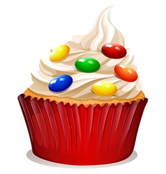 Cupcake with cream and decoration vector image