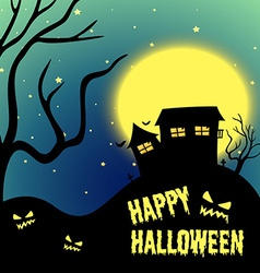 Halloween night with haunted house vector