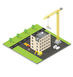 Isometric house under construction vector