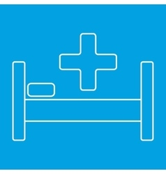 Hospital bed and cross thin line icon vector