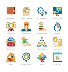 Business and finance flat icons set vector