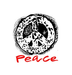 Peace hand drawn linotype made symbol vector