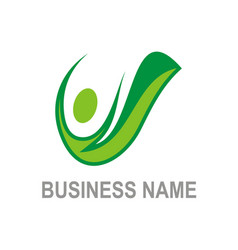 active people green organic logo vector image