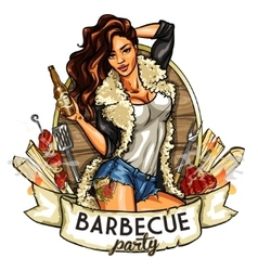 barbecue label with pretty woman vector image vector image