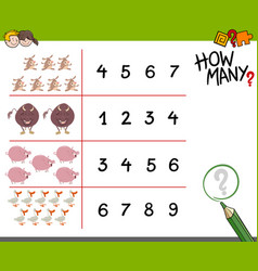 counting game with farm animals vector image
