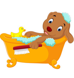 Cute dog bathing time vector